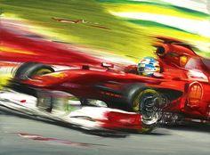 Fernando Alonso on Ferrari F150 Italia, Original Oil painting on Canvas by Italy's Artist Andrea Del Pesco