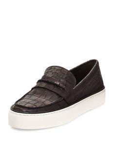 Lounge Crocodile-Embossed Loafer Sneaker, Black