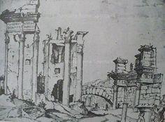 Roma Sparita - Foro di Nerva, Colonnacce e Tempio di Minerva. Marten van Heemskerck 1535