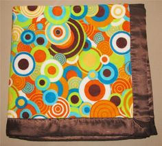 Brown Satin Orange Yellow Teal Velour Circle Print Baby Blanket Bright Colorful #Unbranded