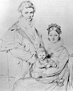"""Ж. О. Д. Энгр. """"Семья Гийон-Летьер"""". Карандаш. 1819. Бостонский музей изящных искусств. США."""