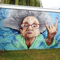 Graffiti of an old lady in saying: There is a lot that's not allowed (Der mag zoveel ni). By artist 3d Street Art, Urban Street Art, Amazing Street Art, Street Artists, Amazing Art, Street Art Graffiti, Murals Street Art, Art Mural, Illusion Kunst