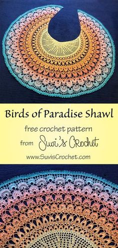 Birds of Paradise Shawl - free crochet pattern and charts from Suvi's Crochet. Difficulty: Intermediate ✦✦✦✦✧ Here is a free crochet pattern for my latest design: the Birds of Paradise Shawl. I started this shawl inspired by the gorgeous m Crochet Shawl Diagram, Crochet Shawl Free, Crochet Gratis, Crochet Shawls And Wraps, Crochet Scarves, Crochet Clothes, Crochet Sweaters, Knitted Shawls, One Skein Crochet