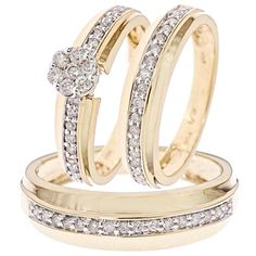 Timeless 3/4 Carat Diamond Trio Wedding Ring Set 14k Yellow Gold with 55 total conflict free diamonds. Set includes Engagement Ring & matching His and Hers Wedding Bands. Priced at $907.99, 65% off what other high end retailers will charge customers! #wedding #rings #authentic #diamonds #engagement