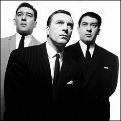 "redhousecanada: The Kray Brothers shot by David Bailey, 1965 (Ronnie and Reggie at the back. Charlie at the front.) Twin brothers Ronald ""Ronnie"" Kray and Reginald ""Reggie"" Kray were. Michelangelo Antonioni, Jane Birkin, Black White Photos, Black And White Photography, David Bailey Photographer, Chrissie Shrimpton, Brian Duffy, The Krays, Swinging London"