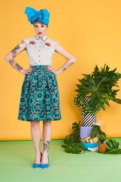 Quirky Fashion, Cute Fashion, Fashion Outfits, Retro, Lady, Whimsical, Tropical, Pastel, Kawaii