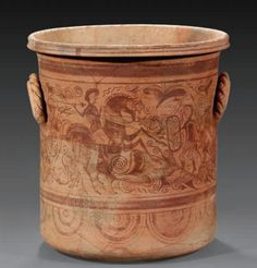 Celt-Iberian kalathos. 2nd - 1st century B.C. The painting shows on both sides each the fight between a horseman and warriors.The field is filled with ornaments like ivy, spirales, thunderbolts. Reassembled from large fragments, complete.