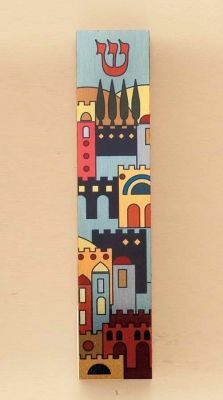 "Aluminum & Wood Mezuzah From Israel  Made In Israel This Wood Mezuzah Has A Decorative Aluminum Front With A Jerusalem Design. The Mezuzah Is 5 1/5"" Tall."