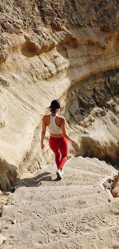 #bbekss sporting our {Go Long Legging, Crimson} on an adventure | @albionfit