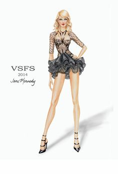 Illusrations drawings sketches from Victoria's Secret Fashion Show London 2014
