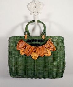 Vintage Green Straw Purse Bag Tote Beads Womens by pursenbootz, $15.95