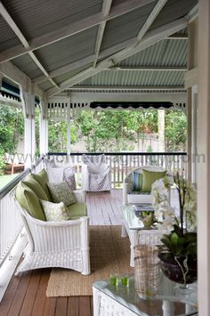 Veranda of a Queenslander home - outdoor living area. White Wicker Furniture, Outdoor Furniture Sets, Adirondack Furniture, Wicker Chairs, Outdoor Rooms, Outdoor Living, Outdoor Decor, Deck Design, House Design