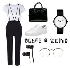 """(4) black & white #black #white #blackisthenewwhite #fashion #style #followforfollow #likeforlike"" by savirafianiesa on Polyvore featuring RE/DONE, Vans and Linda Farrow"