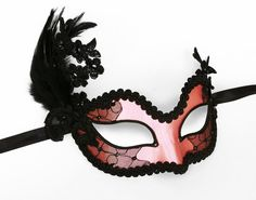 Pink And Black Embroidery Masquerade Mask    Venetian by SOFFITTA