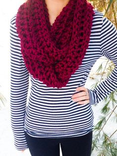 Chunky Crocheted Scarf by SugarPlumSarah on Etsy, $25.00.  Love the needle work and style....beautiful color, too!