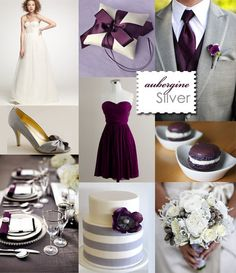 Eggplant Purple/Silver Wedding.... LOVE THAT PURPLE DRESS!! Old velvet and I are great pals! :)