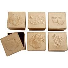 Boxes with embossing, 7x7x4 cm, Fruit, 6 asstd