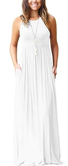 47567a77422 GRECERELLE Women s Sleeveless Racerback and Long Sleeve Loose Plain Maxi  Dresses Casual Long Dresses with Pockets