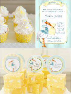 Stork Themed Baby Shower and DIY Party Ideas by Bird's Party #BabyShower #Baby #Bébé #Stork #Cigogne #Cegonha #Printables #PartyIdeas #DessertsTable