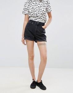 Black high waisted mom shorts