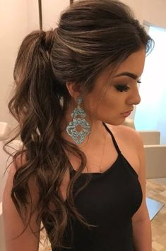 30 adorable ponytail hairstyle - My list of women's hair styles High Ponytail Hairstyles, Long Face Hairstyles, Elegant Hairstyles, Straight Hairstyles, Wedding Hairstyles, Hairdos, Prom Ponytails, Simple Homecoming Hairstyles, Ponytail Haircut
