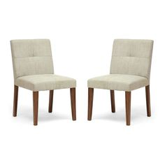 In the dining room or in the living room, these padded chairs provide traditional comfort and simplified style. The creamy, multi-hued upholstery is a beautiful neutral to build a room around, and make...  Find the Almond Cream Chair - Set of 2, as seen in the Free Shipping Day Master Collection at http://dotandbo.com/collections/free-shipping-day-master?utm_source=pinterest&utm_medium=organic&db_sku=WSI0127