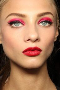 Pink Eyeshadow And Red Lipstick Hmmm Not An Everyday Look But I