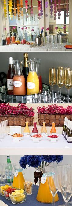 mimosa bar: beautiful setup Peaches, strawberries, raspberries. Love the circles on strings