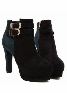 Color Block Suede High heel Boots