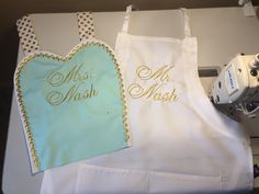 Mr. + Mrs. Nash  Custom Bridal Aprons Work In Progress Shop Our Collection Of Aprons Today On Etsy Www.etsy.com/shop/MamaMadison #bride #bridal #mr #mrs #wedding #mint #gold