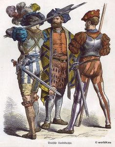 Lansquenet costumes in 1530. German soldiers during the time of the Renaissance and Reformation. First third of the 16th century.