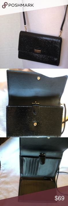KATE SPADE ♠️ CROSS BODY BAG Cross body bag with snap closure,5 credit card slots,exterior slot for mobile device, 6.1 x 1.5w x 3.5h one of the clasps for the strap doesn't close all the way but doesn't interfere or show never used the signs of wear come from poor storage. Kate Spade Bags Crossbody Bags