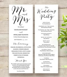 Mr  Mrs Printable Wedding Order Of Service Program Template