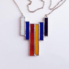 Pendentif vitrail-Mondrian-rectangles composition géométrique-bleu-rouge-jaune-noir-moderne-hipster