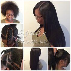 Before & After ...PERFECT PONY SEW-IN HAIR WEAVES by Natalie B. (312) 273-8693...IG: @iamhairbynatalieb...FACEBOOK: Hair by Natalie B. .....ORDER HAIR: www.naturalgirlhair.com.