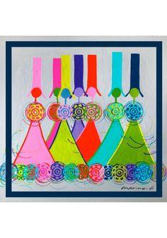 les carrés de soie format hôtesse de l'air autour de votre cou avec des couleurs vives