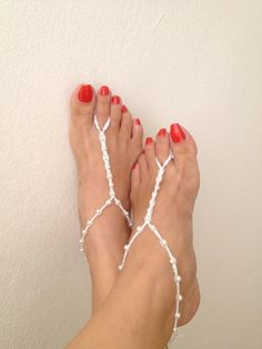 Wedding white beads macrame Foot jewelry Anklet,bridesmaid