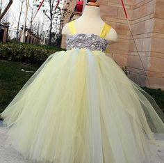 Flower Girl Dress Grey Yellow tutu dress by coloranglesBoutique, $59.00