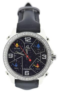 Jacob & Co 5 Time Zone Diamond Stainless Steel Watch