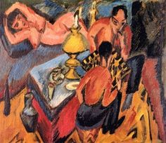 Erich Henkel and Otto Mueller Playing Chess - Ernst Ludwig Kirchner - The Athenaeum