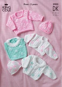 Cardigan, Sweater, Top, Bolero and Hat in King Cole DK - 2903
