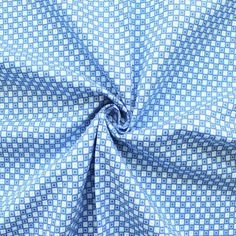 100% Baumwoll Popeline bedruckt  Squares and Dots  Farbe Blau-Weiss