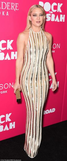 Gorgeous in gold: Kate Hudson stunned on Monday at the premiere of Rock The Kasbah in New York