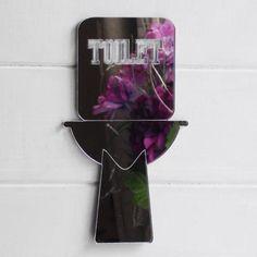 Modern Style Tall Cut Out Toilet Door Sign - Suave Petal Voss Bottle, Water Bottle, Toilet Door Sign, Door Signs, Modern, Style, Swag, Trendy Tree, Water Bottles