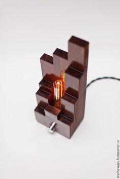 """Купить Настольная лампа Эдисона """"Tower"""" - коричневый, дуб, настольная лампа, ручная работа"""