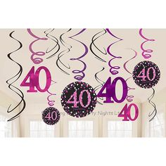 12 Sparkly Happy 40th Birthday Hanging Swirl/Cutout Pink Black Party Decorations  | eBay