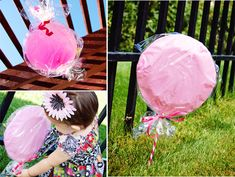 paperplates/balloons in saran wraps to create decorative lollipops & candies for a Candyland themed party =)