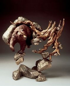 Awake and Hungry - A bronze sculpture by Mark Hopkins  15x15 inches