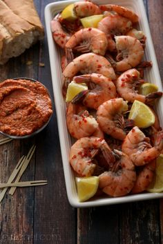 Chilled Shrimp with Romesco Sauce makes a great #holiday #appetizer | www.girlichef.com