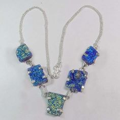 """TRENDY!! 36 GM STERLING SILVER SEMI PRECIOUS GEMSTONE LAPIS GOLDEN 11"""" NECKLACE  #AbhigyaArtJewelry #Necklace"""